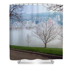 Morning Fog Over City Of Portland Skyline Shower Curtain by David Gn