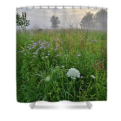 Morning Fog Over Glacial Park Prairie Shower Curtain