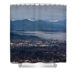 Morning Fog Over Grants Pass Shower Curtain by Mick Anderson