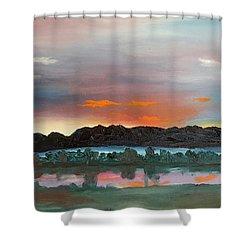 Morning Fog Silver Star  Shower Curtain