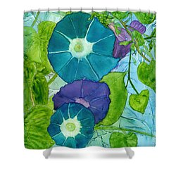 Morning Glories In Watercolor On Yupo Shower Curtain
