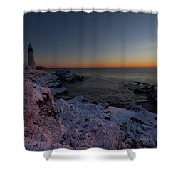 Morning Glow At Portland Headlight Shower Curtain