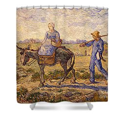 Morning Going Out To Work Shower Curtain by Vincent Van Gogh