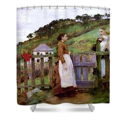 Shower Curtain featuring the painting Morning Gossip by Henry Scott Tuke