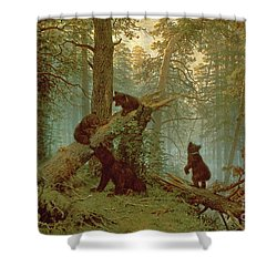 Morning In A Pine Forest Shower Curtain by Ivan Ivanovich Shishkin