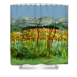 Shower Curtain featuring the painting Morning In Backyard At Barton by Donna Walsh
