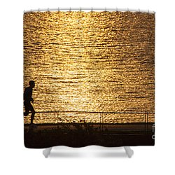 Shower Curtain featuring the photograph Morning Jog by Inge Riis McDonald