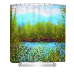 Morning Lake In Stillness Shower Curtain
