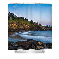 Morning Light At Cape Disappointment Shower Curtain by Ken Stanback