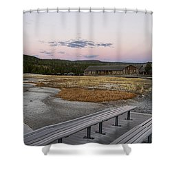 Morning Light At Old Faithful Shower Curtain by Shirley Mitchell