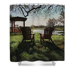 Morning Light At The Vineyard Florence Texas Shower Curtain by Kelly Borsheim