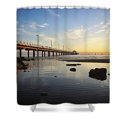 Morning Light Down By The Pier Shower Curtain