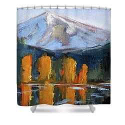 Morning Light Mountain Landscape Painting Shower Curtain by Nancy Merkle