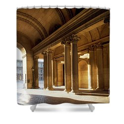 Shower Curtain featuring the photograph Morning Lights At The Louvre Museum by Ivy Ho