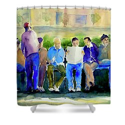 Morning Meeting In Portsmouth Square Shower Curtain by Tom Simmons