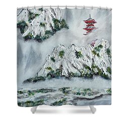 Shower Curtain featuring the painting Morning Mist 1 by Amelie Simmons