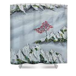 Shower Curtain featuring the painting Morning Mist 3 by Amelie Simmons