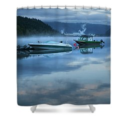 Shower Curtain featuring the photograph Morning Mist Adams Lake by Theresa Tahara