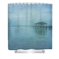 Shower Curtain featuring the digital art Morning Mist In Blue by Randy Steele