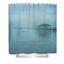 Morning Mist In Blue Shower Curtain by Randy Steele