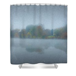 Morning Mist On Langwater Pond Shower Curtain