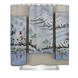 Shower Curtain featuring the painting Morning Mist Triptych by Amelie Simmons