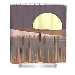 Morning Moon Shower Curtain by Val Arie