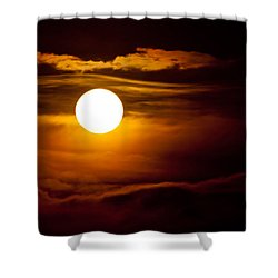 Morning Moonset Shower Curtain by Colleen Coccia