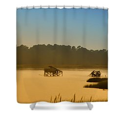 Morning On The Bay Shower Curtain by Bill Cannon