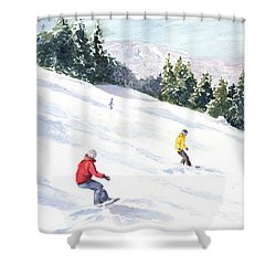 Morning On The Mountain Shower Curtain by Vikki Bouffard