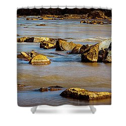 Morning On The Rocky River Shower Curtain