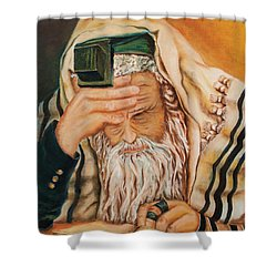 Shower Curtain featuring the painting Morning Prayer by Itzhak Richter