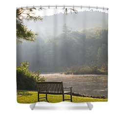Morning Rays On The Pond And Bench Shower Curtain