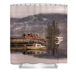 Morning Reflections Of Loch Ness Shower Curtain by Ian Middleton