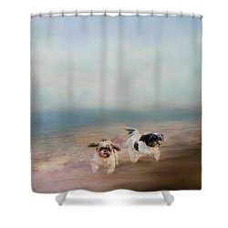 Morning Run At The Beach Shower Curtain