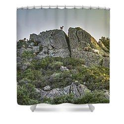 Morning Sun Lit Rocky Hill Greece Shower Curtain