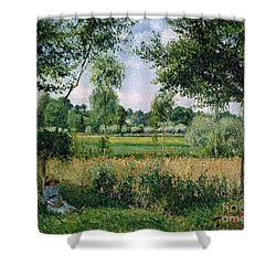 Morning Sunlight Effect At Eragny Shower Curtain by Camille Pissarro
