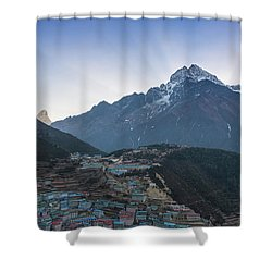 Shower Curtain featuring the photograph Morning Sunrays Namche by Mike Reid