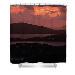 Morning Sunrise From St. Thomas In The U.s. Virgin Islands Shower Curtain by Jetson Nguyen