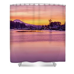 Morning Sunrise In Gig Harbor Shower Curtain by Ken Stanback