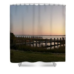 Morning Sunrise Over Assateaque Island Shower Curtain by Donald C Morgan