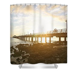 Morning Sunshine At The Pier  Shower Curtain