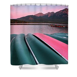 Morning View Of Pyramid Lake In Jasper National Park Shower Curtain by Mark Duffy