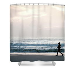 Morning Walk With Color Shower Curtain
