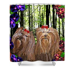 Shower Curtain featuring the digital art Morning Yorkies by Michelle Audas