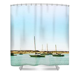 Moro Bay Inlet With Sailboats Mooring In Summer Shower Curtain