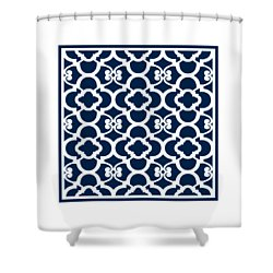 Moroccan Floral Inspired With Border In Oxford Blue Shower Curtain