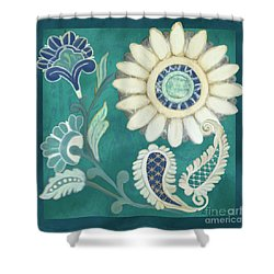 Shower Curtain featuring the painting Moroccan Paisley Peacock Blue 2 by Audrey Jeanne Roberts