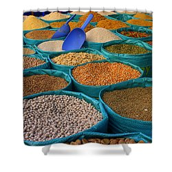Shower Curtain featuring the photograph Moroccan Spice Market by Ramona Johnston