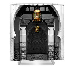 Moroccan Style Doorway Lamps Courtyard And Fountain Color Splash Black And White Shower Curtain by Shawn O'Brien